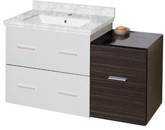 "Phoebe Drilling Wall Mount 38"" Single Bathroom Vanity Set with Drawers Orren Ellis Base Finish: White/Dawn Gray, Top Finish: Bianca Carara, Sink Finis"