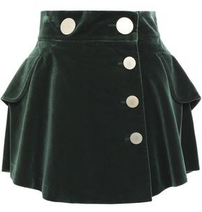 Alexander Wang Ruffled Snap-detailed Cotton-velvet Mini Skirt