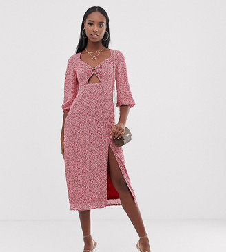 Fashion Union Tall midi dress with ring detail in polka-Pink