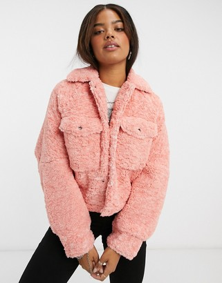 Free People Teddy swing jacket in pink
