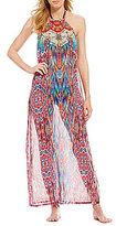 Laundry by Shelli Segal Mayan Feathers High Neck Maxi Dress Cover-Up