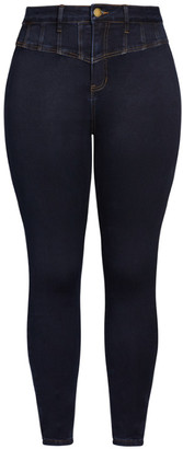 City Chic Harley Sexy Corset Skinny Jean - dark denim