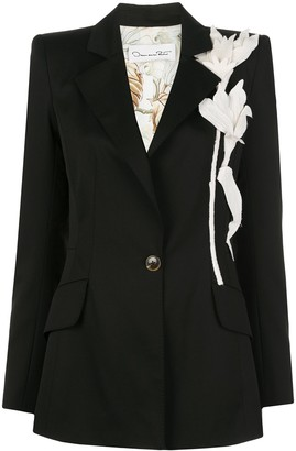 Oscar de la Renta Floral-Applique Structured Blazer