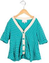 3.1 Phillip Lim Girls' Polka Dot Short Sleeve Cardigan