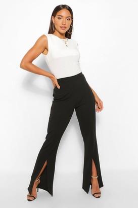 boohoo Split Hem Fit And Flare Trousers