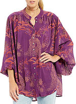 Free People Metallic Blooms Button Front Blouse