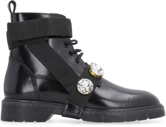 Polly Plume Lara Rock Leather Ankle Boots