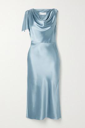 Fleur Du Mal Draped Silk-satin Midi Dress - Sky blue
