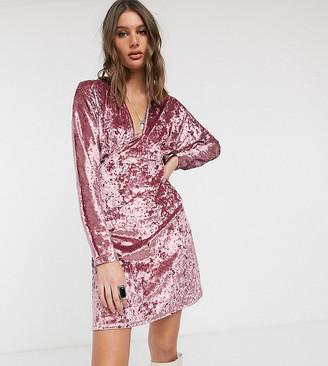 Asos DESIGN Tall long sleeve plunge velvet mini dress