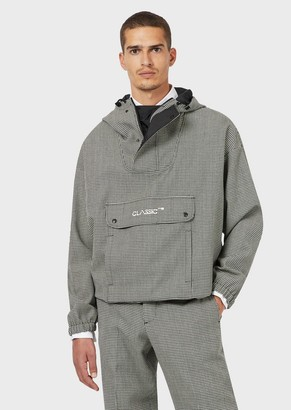 Emporio Armani Hooded, Houndstooth Wool Anorak