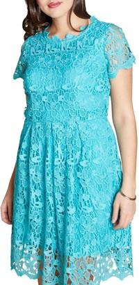 Yumi Curves Guipure Lace Dress, Jade