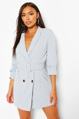 boohoo Petite Self Belt Button Blazer Dress