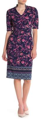Maggy London Floral Print V-Neck Sheath Dress