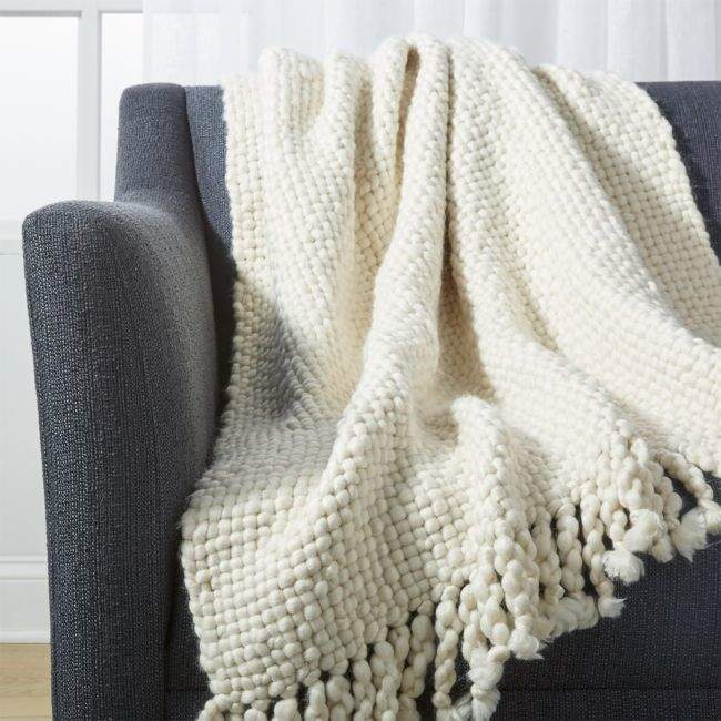 Crate & Barrel Cozy Weave Ivory Throw