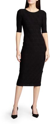 Giorgio Armani Short-Sleeve Knit Jacquard Midi Dress