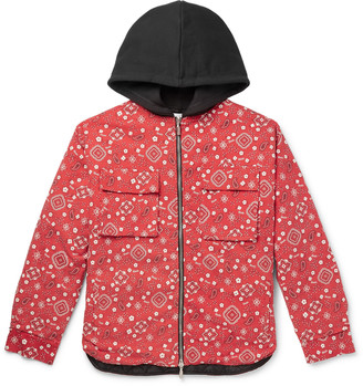 Rhude Jersey-Trimmed Bandana-Print Cotton-Twill Hooded Jacket