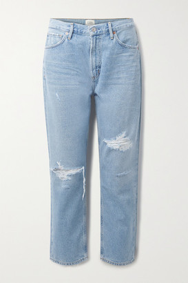 Citizens of Humanity + Net Sustain Marlee Cropped Distressed Organic High-rise Tapered Jeans - Light denim