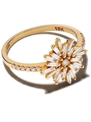 Suzanne Kalan 18kt Yellow Gold Flower Diamond Ring
