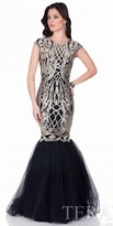 Terani Couture Metallic Embroidered Mermaid Evening Gown