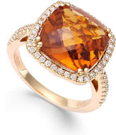Macy's Citrine (6 ct. t.w.) and Diamond (1/3 ct. t.w.) Ring in 14k Gold