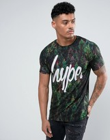 Hype T-Shirt In Green With Tree Print
