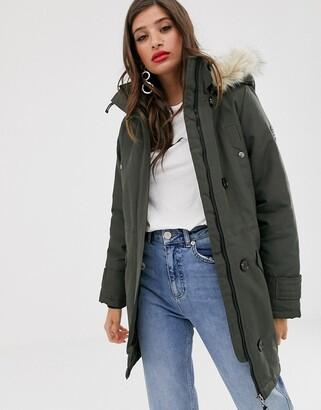 Vero Moda faux fur hooded parka-Green