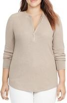 Lauren Ralph Lauren Plus Cotton Half-Zip Shirt