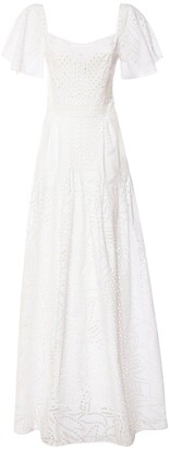 Alberta Ferretti Cotton Blend Eyelet Long Dress