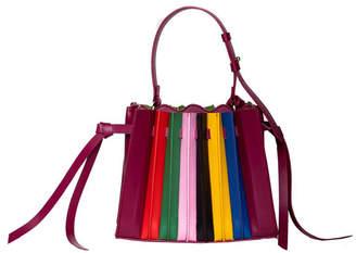 Sara Battaglia Leather Plisse Extra Small Tote Bag