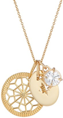 One And One Studio Gold Medallion Pendant, Gold Disc & Diamond Jewel Charm Necklace On Chain