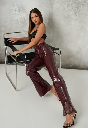 Missguided Burgundy Vinyl High Waisted Trousers