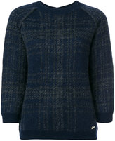Woolrich plaid button-back brushed sweater