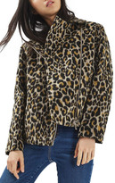 Topshop Leopard Print Biker Jacket