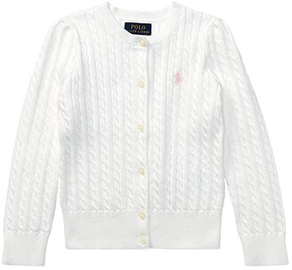 Polo Ralph Lauren Kids Cable Knit Cotton Cardigan (Toddler) (Hint of Pink/Nevis Pony Player) Girl's Sweater