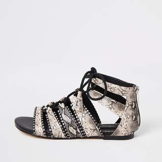 River Island Pink lace-up diamante wide fit sandals
