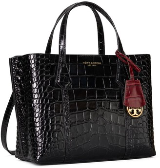 Tory Burch Perry Embossed Small Triple-Compartment Tote Bag