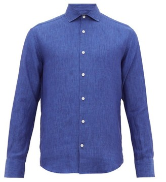 Frescobol Carioca Slubbed-linen Poplin Shirt - Mens - Navy