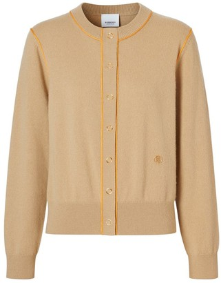 Burberry Silk Trim Monogram Motif Cashmere Cardigan