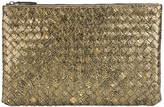 Bottega Veneta metallic intrecciato clutch