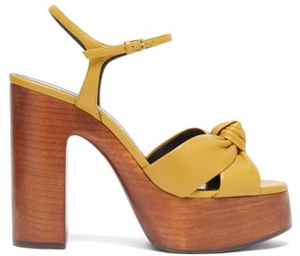 Saint Laurent Bianca Knotted Leather And Wood Platform Sandals - Dark Yellow