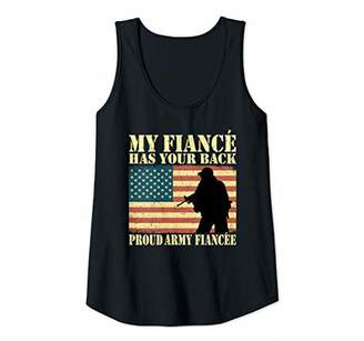 Womens My Fiance Has Your Back Proud Army Fiancee Pro-Military Gift Tank Top