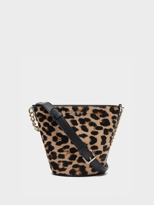 DKNY Unisex Kim Calf Hair Bucket Bag - Leopard - Size N/S
