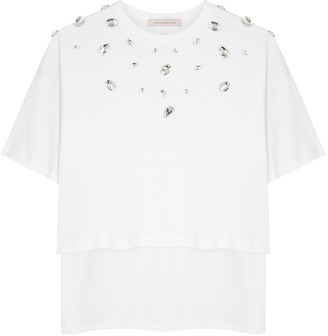 Christopher Kane White crystal-embellished cotton T-shirt