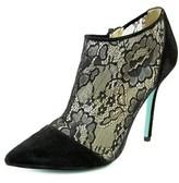 Betsey Johnson Lola Women Pointed Toe Canvas Black Bootie.
