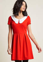 ModCloth Looking to Tomorrow Mini Dress in Rouge in L - Short Sleeve Fit & Flare Knee Length