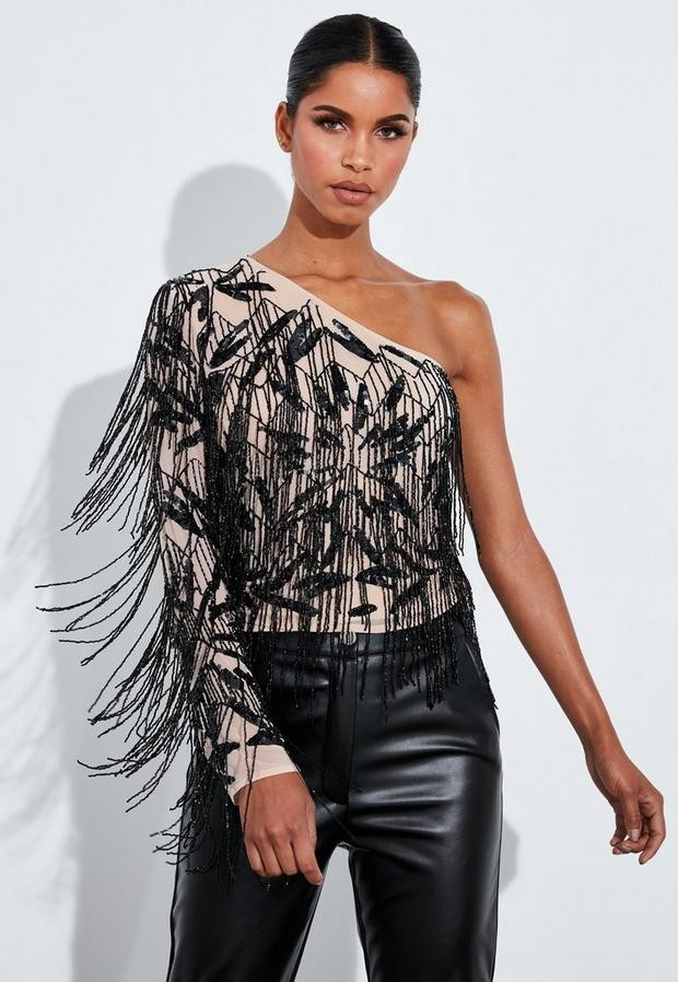 Missguided Black Fringed Asymmetric Top