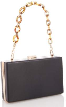 Quiz Black Faux Leather Chain Strap Box Bag