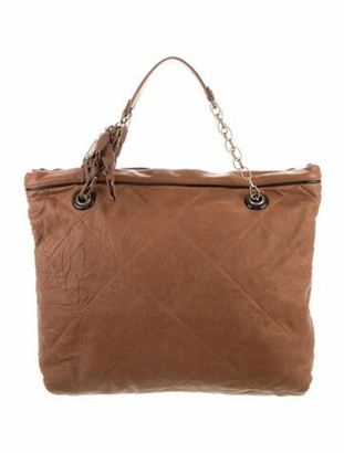 Lanvin Quilted Leather Tote Brown