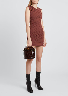 Balmain Draped Body-Con Mini Dress