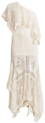Alexander McQueen One-Shoulder Lace Maxi Dress